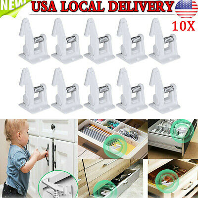 10Pack Cabinet Locks Child Safety Latches Baby Proofing Cabinets Drawer Lock US