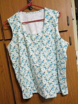 Women's Plus Size 2X Tank Top Colorful Daisies Cotton Blend Material Lined Front