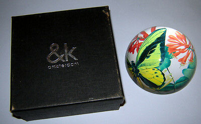 Vintage Holland Dutch Amsterdam Art Glass Paperweight Beautiful colors Butterfly