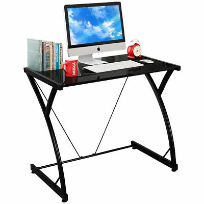 Glass Top Computer Desk PC Laptop Table Writing Study Workstation Home