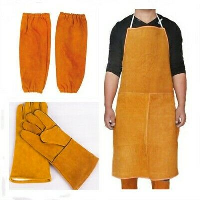 Long Apron Blacksmith Protection Clothes Welder Welding Leather Gloves Gauntlets