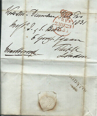 GB 1831 Free Entire Signed by Duke of Marlborough with Woodstock Mileage Cachet
