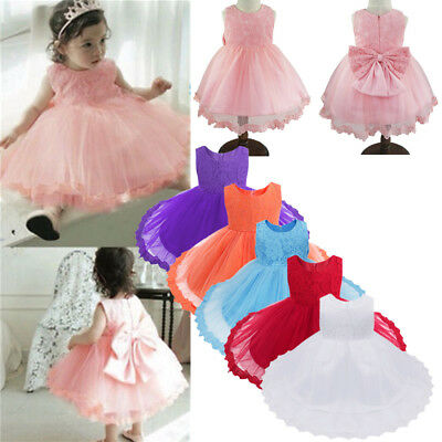 Princess Girl Party Dress Flower Baby Christening Birthday Bridesmaid Lace Dress