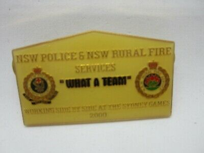 Sydney 2000 Olympic Games Police & NSW Rural Fire Service Joint Pin What A Team