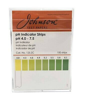 pH Indicator Strips pH 4.0 - 7.5 - 100 strips/pk