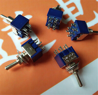 5Pcs 6Pin 3Position ON-OFF-ON DPDT Latching Toggle Switch AC 125V/6ABGS