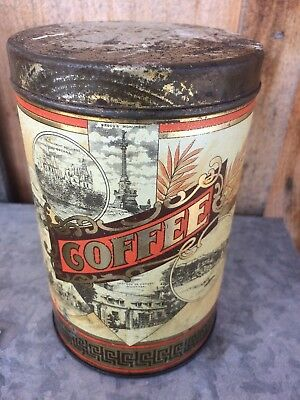 Antique Woods Canadian Coffee Tin Can Winnipeg Manitoba Sign Wheat Sheaf