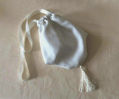 Ivory Faux Silk Drawstring bag, reticule purse. Regency, Victorian, wedding