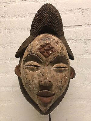 180407 - Tribal used Old African female mask from the Punu - Gabon