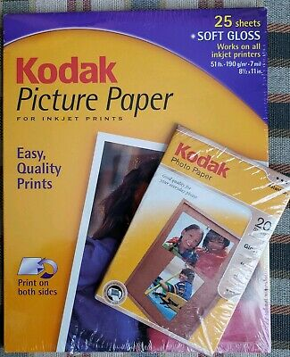 Kodak Photo Picture Paper. Lot of 2. 4x6 and 8.5x11 Inkjet Printers New Sealed