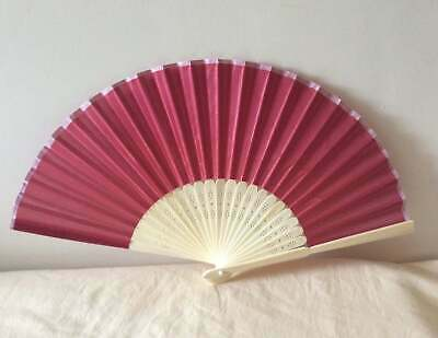 Dark Red Faux Silk Wood Hand Fan Regency, Victorian, wedding, costume