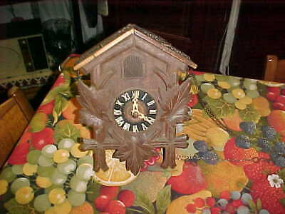Antique Cuckoo Clock W/GERMAN ENGRAVING ON REAR FOR PARTS/REPAIRS NOT WORKING