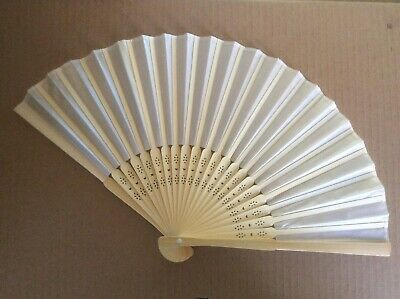 Ivory Faux Silk Wood Hand Fan Regency, Victorian, wedding, costume