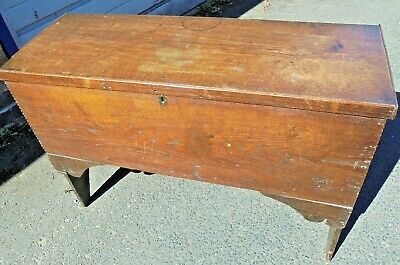 Antique Georgian Victorian 6 Plank Rustic Oak Sword Chest Coffer Old Wooden Box