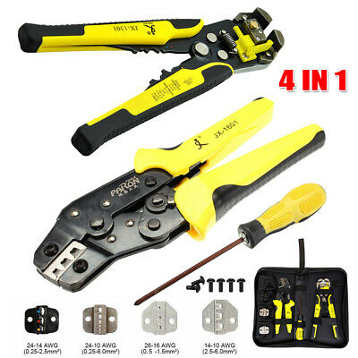 Insulated Cable Connectors Terminal Ratchet Crimping Wire Crimper Plier/&Tool Kit