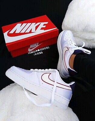 299eb7136550a Size 9 Women's Nike Air Force 1 NSW Pearl ribbon White Red AA0287-103  SNEAKERS