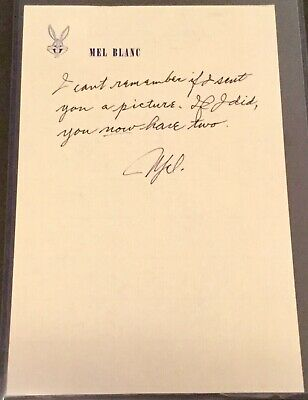 "Mel Blanc ""Looney Tunes Voice"" Autograph Signed Note COA"