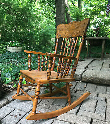 Vintage Antique Oak Child's Rocking Chair