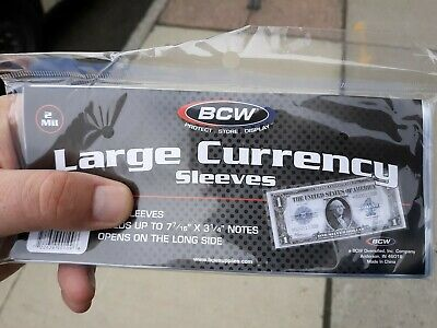 (50) Bcw Large Us Dollar Bill Banknote Soft Poly Currency Sleeves