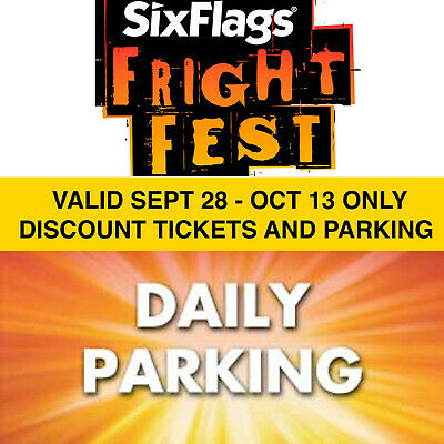 $43 Discount Six Flags Great America Tickets Parking - Fright Fest 7/28 - 10/13