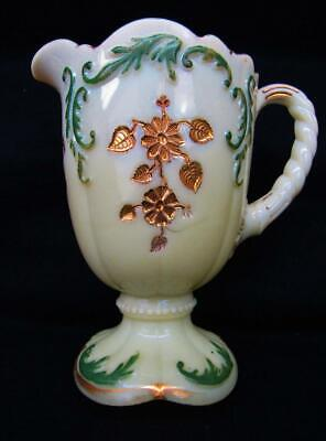 "Northwood INTAGLIO Paint and Gilt Decorated Custard Glass 8½"" Water Pitcher 6803"