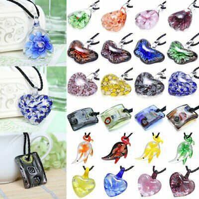 Charm Lampwork Murano Glass Heart Butterfly Flower Necklace Pendant Women Gift