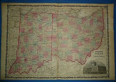 Vintage 1862 OHIO - INDIANA MAP Old Antique Original JOHNSON'S Atlas Map
