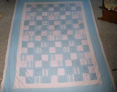 """Pink & Blue Patchwork Quilt  with Pillow Shams Machine Sewn & Quilted 97 """"x  75"""""""