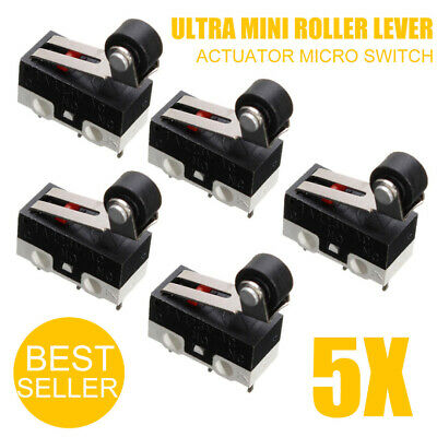 5pcs Mini Roller Lever Actuator Microswitch SPDT Sub Miniature Micro Switch Kit