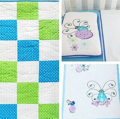 Peacock Family Blue Green Baby Blanket Three-Piece Bed Set