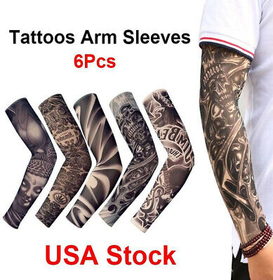 6pcs Tattoos Cooling Arm Sleeves Cover Sport Basketball Golf UV Sun Protection