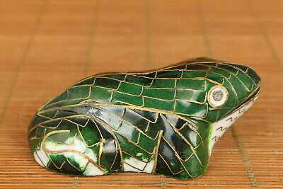 lovely chinese old cloisonne handwork frog statue netsuke table decoration