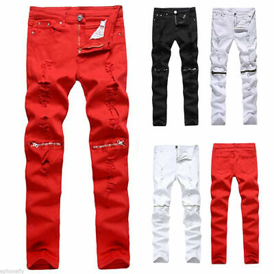 Men Boys Stylish Ripped Jeans Pants Biker Skinny Slim Straight Denim Trousers