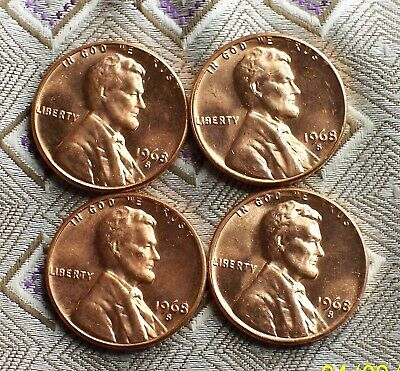 1968-S Lincoln Unc. Red - Memoroal Cent's ( 4 Coin's )  ( Itm #8471 )