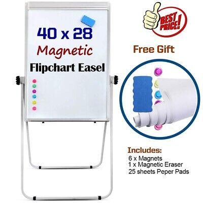 40 X28 Magnetic Dry Erase Board Easel With U-Stand Height Adjustable 360° Ro