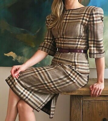 Valentino Check Suit Stunning Vintage Silk And Wool Blend Small