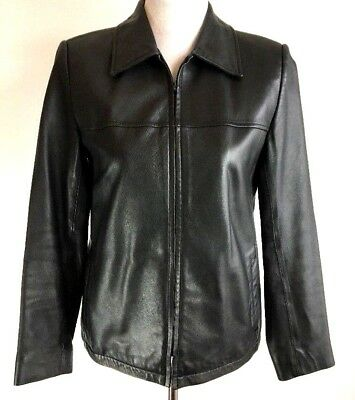 Talbots Womens Jacket Coat 4 Collared Black Leather Lined Full Zip Front Pockets