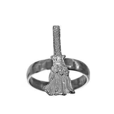 Sterling Silver 925 Witch Spell Enchanted Broom Halloween broomstick Ring Size