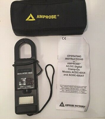 Amprobe ACDC-600A Digital Clamp On Meter With Case And Instructions