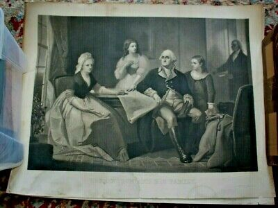 Large Mezzotint of George Washington and His Family Sitting in Mount Vernon 1884