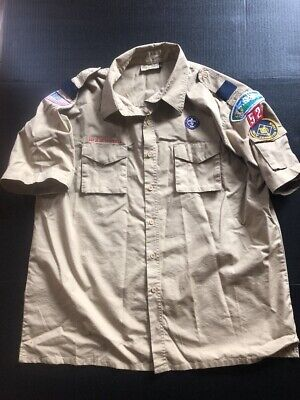 Boy scouts Of America Official Uniform Shirt Adult 2XL With Badges Short Sleeve