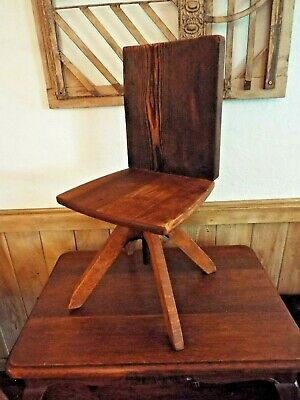 Antique Farmhouse Child's Chair  Primitive Handmade Piano Stool + Barnwood