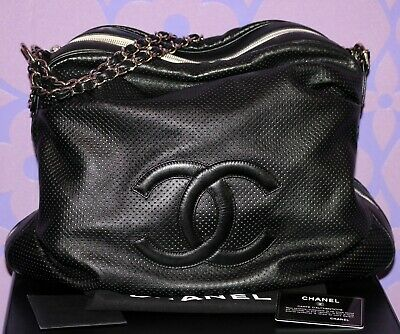 CHANEL Baseball Spirit Perforated Punching Lambskin Chain Shoulder Hobo Bag RARE