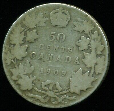 1909 Canada King Edward VII, Silver Fifty Cent Piece  PE33