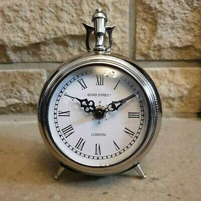Aluminium Pocket Watch Style Desk / Table Mantel Round Clock with roman numeral,