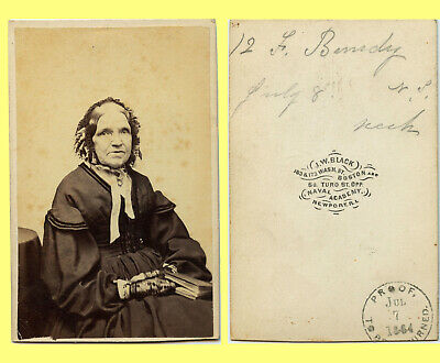 EXC 7/7/1864 Rare Proof CDV, Boston Elegant Old Woman Bundy