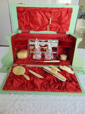Large Antique Victorian Celluloid & Wood Vanity Box ~ With Contents