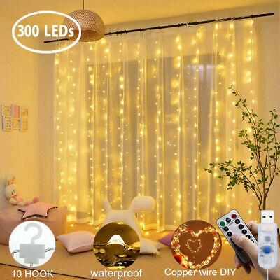 300 LED 3x3M Curtain Fairy Lights USB String Lights Wedding PartyChristmas8Modes
