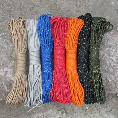 Reflective 550 Paracord Parachute Cord Lanyard Rope 9 Strand Core 100ft Outdoor
