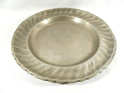 Antique 1784 PEWTER Germany Charger Ribbed 12 inch Plate Joseph Lang Brunn Zin